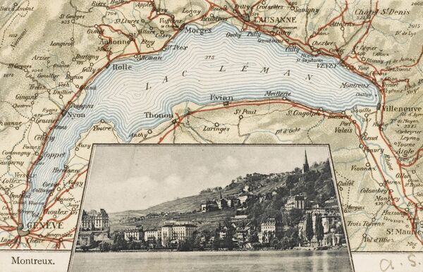 A postcard map showing Lake Geneva (Lac Leman), Switzerland, with an inset photograph of the lakeside town of Montreux