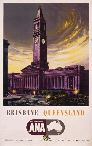 Poster advertising Australian National Airways flights to Brisbane, Queensland