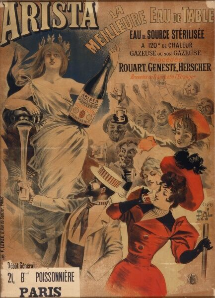 Poster advertising Arista bottled water, sparkling and still, sterilised at 120 degrees. A fashionable Parisian crowd think it's wonderful
