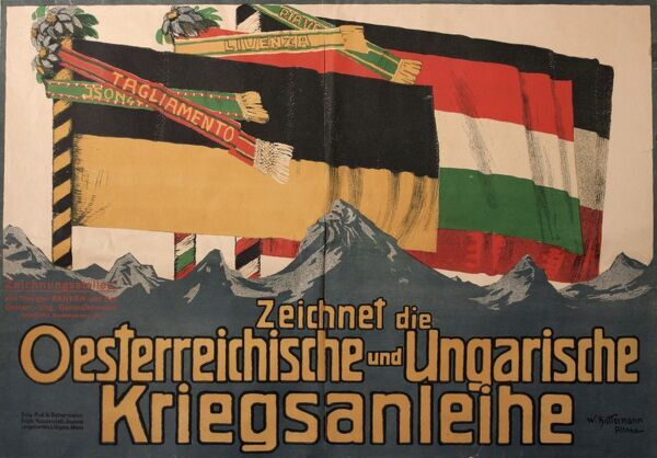 Poster advertising Austro-Hungarian War Bonds, with flags of the various countries.  early 20th century