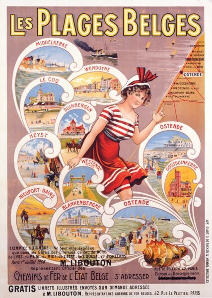 Poster for the Railways of Belgium highlighting the virtues of the Beaches of Belgium (Les Plages Belges)