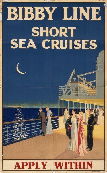 Poster advertising Bibby Line short sea cruises, showing some glamorous people strolling around the deck in their evening dress