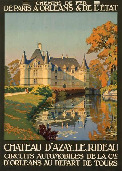 Poster for French railways, advertising the Chateau of Azay le Rideau