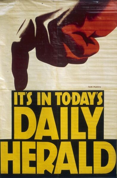 Poster advertising the Daily Herald, with a large pointing finger