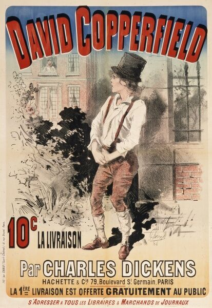 Poster advertising a French translation of David Copperfield by Charles Dickens. David is depicted in Mr Brownlow's garden
