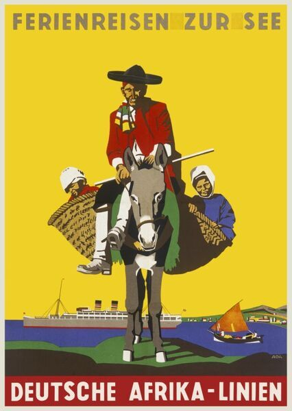 Poster advertising cruises on the Deutsche Africa Lines, showing a man on a donkey with a child in a basket on either side