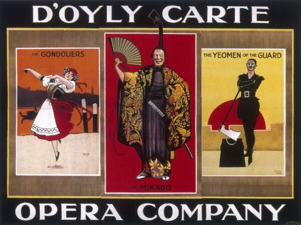 Poster advertising the D'Oyly Carte Opera Company, famous for its Gilbert and Sullivan operetta productions. Pictured are scenes from The Gondoliers, The Mikado and The Yeomen of the Guard