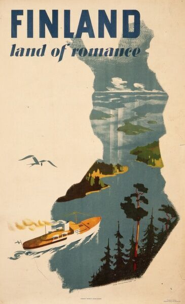 Poster advertising Finland, land of romance. A steamship cruises through tranquil waters