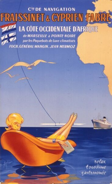 Poster advertising Fraissinet & Cyprien Fabre luxury cruises to the West African coast via Marseilles