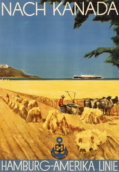 Poster advertising Hamburg America Line departures to Canada, showing a cornfield being harvested