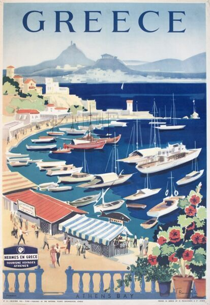 Poster advertising holidays in Greece, with an idyllic view of the Bay of Athens.  20th century