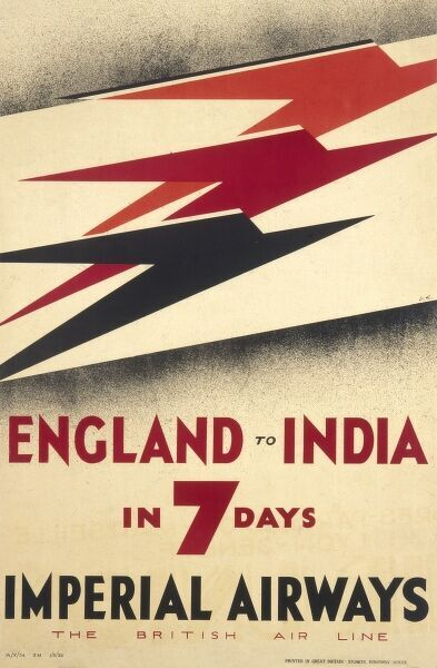 Poster for Imperial Airways advertising flights from England to India in 7 days