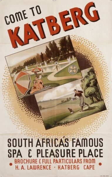 Poster advertising Katberg, a holiday resort and spa in South Africa