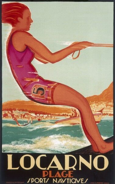 Poster advertising Locarno beach in Nice, France. Water skiers are pulled along by speedboats