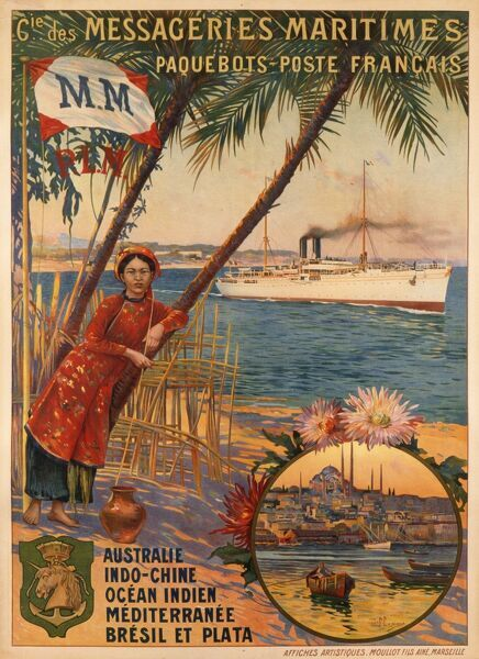 Poster advertising Messageries Maritimes, French mail service steamships to Australia, Indochina, the Indian Ocean, the Mediterranean, Brazil and Argentina