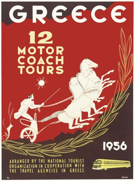 Poster advertising motor coach tours in Greece, arranged by the National Tourist Organization in cooperation with the travel agencies in Greece