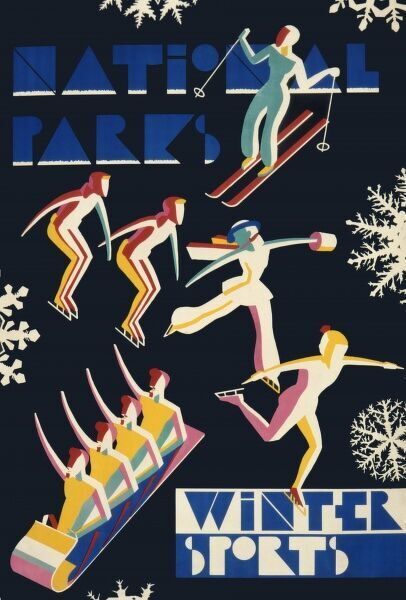 Poster designed by Dorothy Waugh, advertising America's National Parks for winter sports
