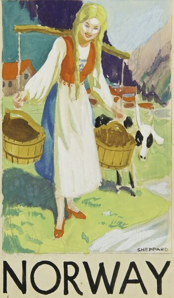 Poster advertising Norway, showing a pretty milkmaid with a yoke and two buckets.  20th century