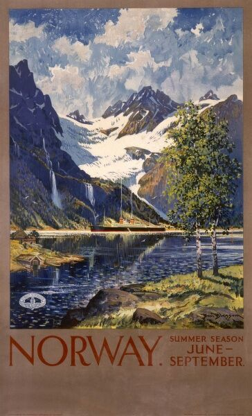 Poster advertising Norway for the summer season, from June to September