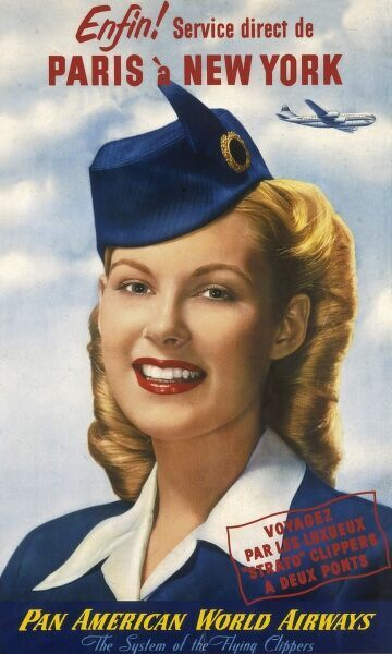 Poster for Pan American World Airways, later known as Pan Am, advertising a direct service between Paris and New York. Enfin!