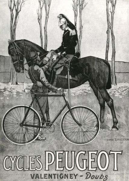 Reproduction of a poster advertising Peugeot cycles (design by Ernest Vulliemin), showing a cuirassier on his horse, chatting with a postman who is handing him a letter. Date: circa 1900