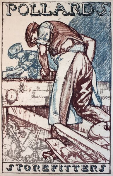 Poster advertising Pollards Storefitters, showing workmen busy with their carpentry. 20th century