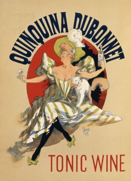 Poster advertising Quinquina Dubonnet tonic wine, as enjoyed by a lady in a flamboyant green and white striped dress