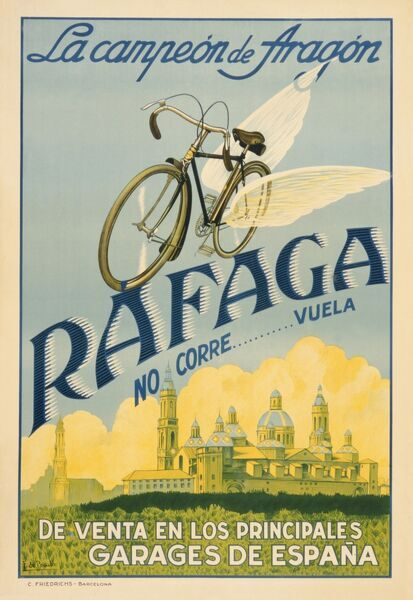 Poster advertising Rafaga bicycles. They don't run... they fly! Available from all the main garages in Spain