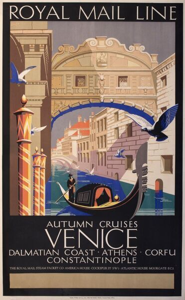 Poster advertising Royal Mail Line autumn cruises to Venice, also calling at the Dalmatian Coast, Athens, Corfu and Constantinople. Showing a gondola on the canal below the Bridge of Sighs.  20th century