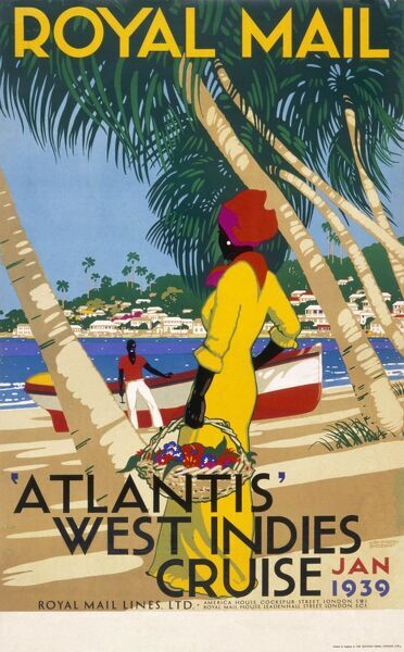 Poster advertising a Royal Mail Lines cruise to the West Indies on the liner Atlantis