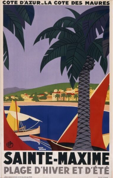 Poster advertising the coastal town of Sainte Maxime on the Cote d'Azur in the South of France, for winter as well as summer holidays