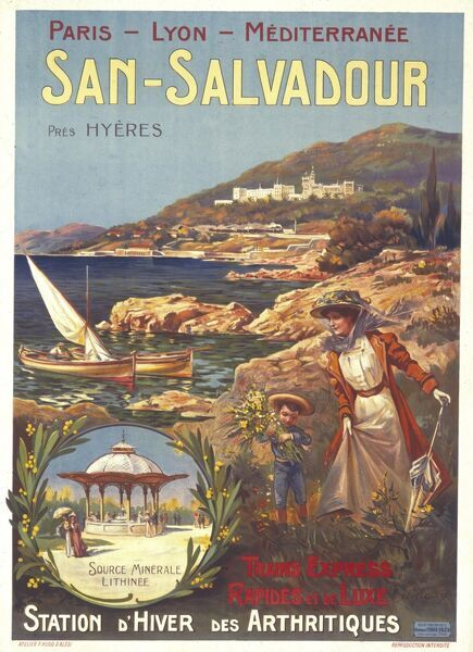 Poster advertising San Salvadour, near Hyeres, France, popular for its winter cures for arthritis and its mineral waters