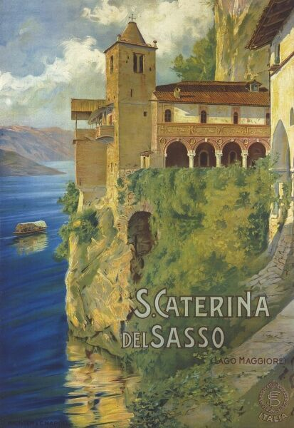 Poster advertising Santa Caterina del Sasso on Lago Maggiore, Italy