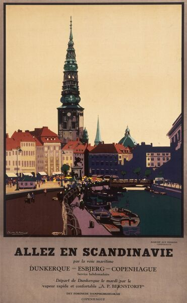 French poster advertising sea trips to Scandinavia, showing a view of the Fish Market at Copenhagen