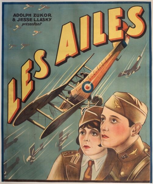 Poster advertising the French version of an American silent film, Les Ailes (Wings), by Adolph Zukor and Jesse Llasky, set during the First World War.  circa 1920s