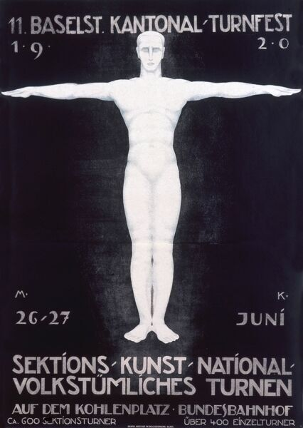 Poster advertising a sports or gymnastics festival in Basel, Switzerland, on 26 and 27 June 1920. An idealised gymnast stands with his arms outstretched