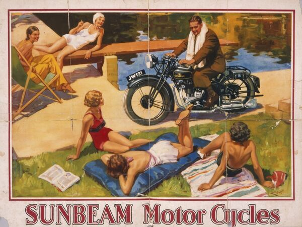 Poster advertising Sunbeam motor cycles. Five sunbathing beauties are chatted up by a handsome motor cyclist