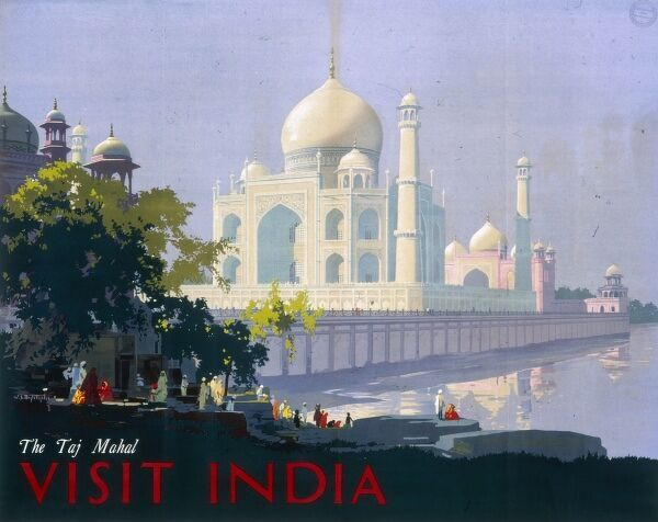 Poster advertising India, with a view of the Taj Mahal