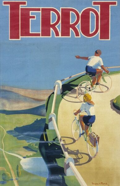 Poster advertising Terrot bicycles. The company was founded by Charles Terrot in Dijon in 1887. A young couple are depicted on their bicycles, enjoying a healthy cycling holiday