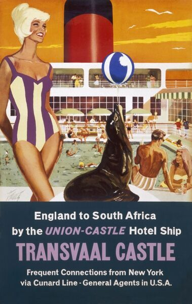 Poster advertising the Transvaal Castle cruise ship, sailing from England to South Africa with frequent connections from New York via the Cunard Line