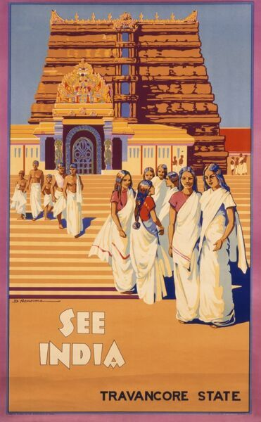 Poster advertising Travancore State, India