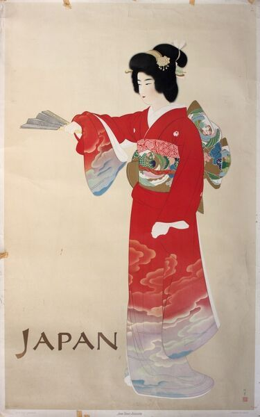 Poster advertising trips to Japan, featuring a geisha in a red kimono. 20th century