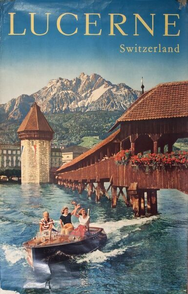 Poster advertising trips to Lucerne, Switzerland, showing people in a boat on the river.  20th century