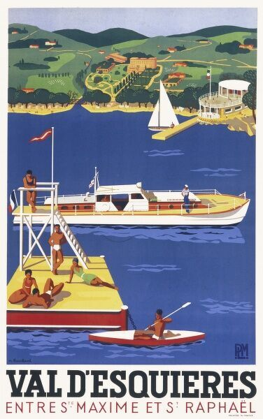 Poster advertising the resort of Val D'Esquieres between Sainte Maxime and St Raphael on the Cote d'Azur, South of France. Holiday makers can be seen basking in the sunshine on a floating jetty, canoeing and generally enjoying the blue sea