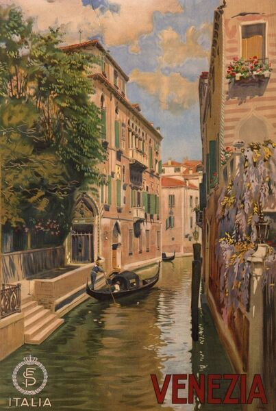 Poster advertising Venice, depicting one of the city's many picturesque canals
