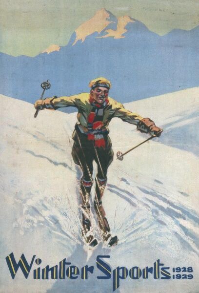 Poster advertising Winter Sports -- a man skis rapidly down a snowy slope