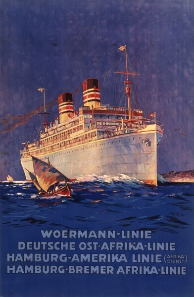 Poster advertising the Woermann Line, with services from Germany to Africa and America