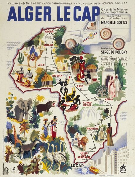 Poster of Africa, showing the territory of a French film distributor, the AGDC, l'Alliance Generale de Distribution Cinematographique, whose films were shown from Algeria in the north to the Cape in the south