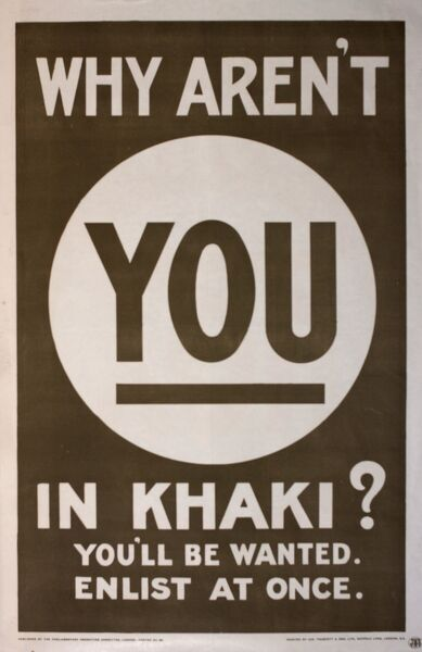 Poster, Why Aren't You in Khaki? You'll Be Wanted. Enlist At Once. A poster designed to shame people (especially men) into joining one of the wartime services.  circa 1914-1915