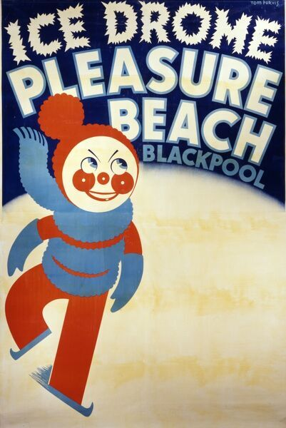 A poster advertising the 'Ice Drome' ice rink at Blackpool Pleasure Beach